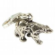 Polar Bear  Sterling Silver Clip On Charm - With Clasp